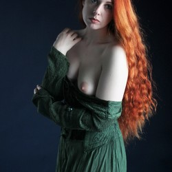 With green dress on