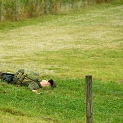 Gesneuvelde reenactor Amerikaanse parachutist.