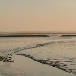 Panorama wad bij haven Holwerd.