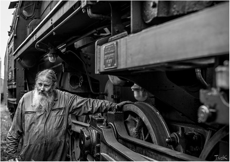 Vettig - Treinmonteur van de Veluwsche Stoomtrein Maatschappij.