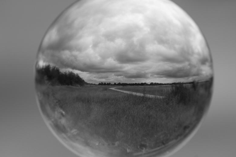 Landschap in bol - Landschap in bol in zwart/wit overgezet.