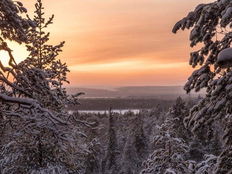 Schemer in de middag in Fins Lapland