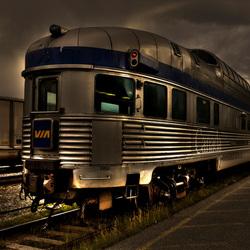 classic Canadian panorama train in Jasper