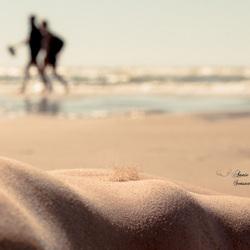 hiking down the beach