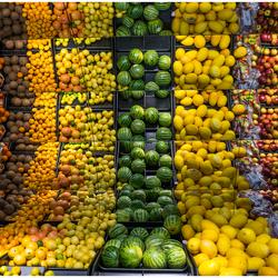 Colourful fruit on the shelf