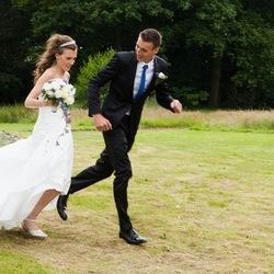 Running Bride & Groom