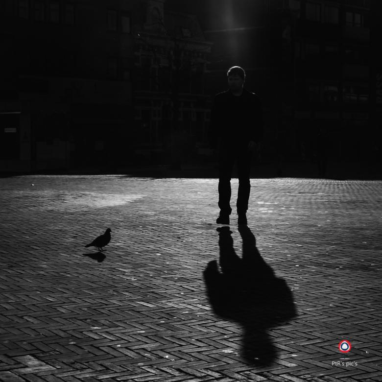 tegenlicht - Keihard tegenlicht, enkele stops onderbelicht en eenmaal thuis zag ik pas die straal licht op de man. Verrassend.