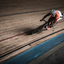 Baanwielrenner in volle sprint