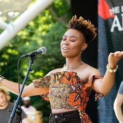 Ntjam Rosie tijdens het Afrika Festival in Den Haag