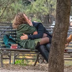 Op een bankje in het park....