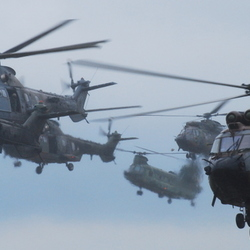 sky filled with heli's