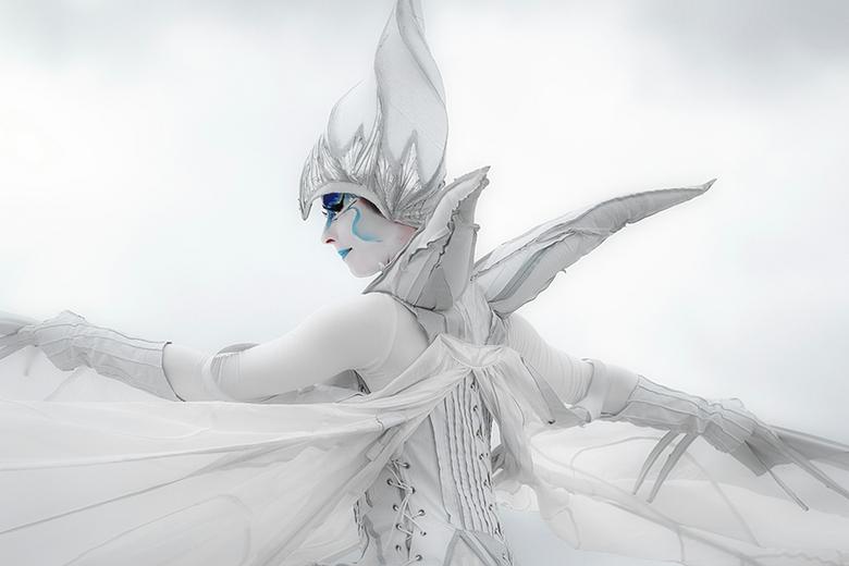 Dancing butterfly in white - Foto van een danseres op Floriade 2012 in Venlo