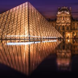 Louvre plein Parijs tijdens einde blauwe uur.