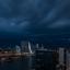 Onweer boven de Maas in Rotterdam