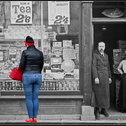 Lady before old shop
