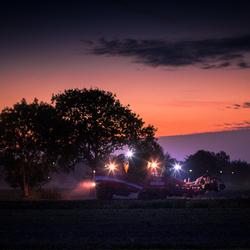 Aardappelen rooien in de avond Oktober 2018