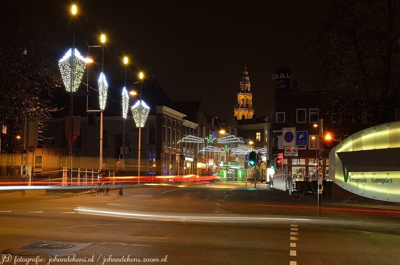 Kerstsfeer in Groningen. - Kerstsfeer in Groningen.<br /> Zicht op Martinitoren.