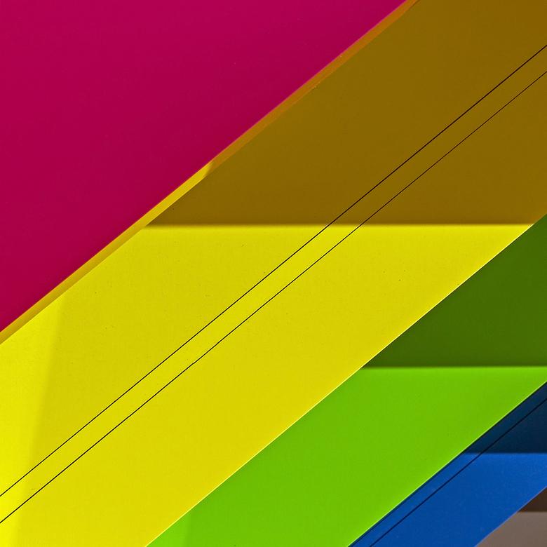 Biblion 7 - Abstracte weergave ven het kleurige gebouw.
