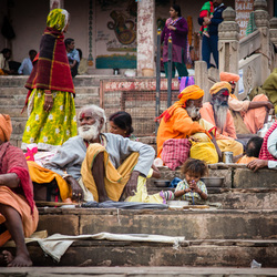 Ghats in Varanasi - India, leading to the banks of Ganges.