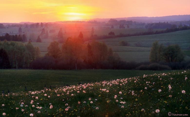 Zonsondergang in Burg Reuland, België - Tijdens een weekendje weg de ochtenden en avonden mijn kans gegrepen voor wat plaatjes. Het prachtige heuvella