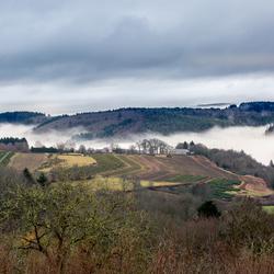 Mist tussen de bergen