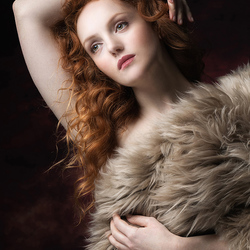 natural redhead in a sheepskin