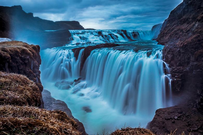 Gullfoss, IJsland - De Gullfoss, Golden falls, is een waterval in Zuid-IJsland. Het is een van de populairste watervallen van IJsland. Daarom wilde ik
