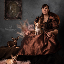 Lady and her dogs