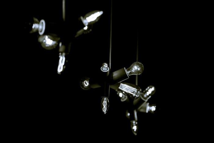 let there be light - Tijdens een feest in een café in Groningen, deze drie lampen boven de bar...