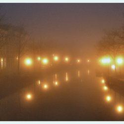 Rapenburg in de mist