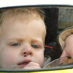 Jesse in de spiegel van de Trabant