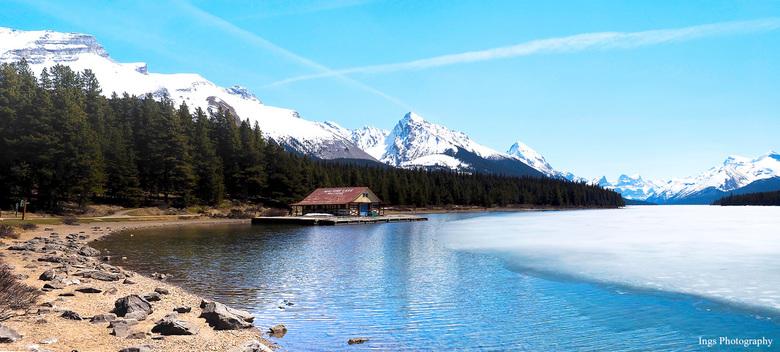 2 foto pano Lake Maligne Jasper Nat. Park - afgelopen jaar hebben we een prachtige camperreis gemaakt door de USA en Canada....... dat dat mooie foto&