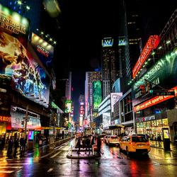 Time Square op een regenachtige dag