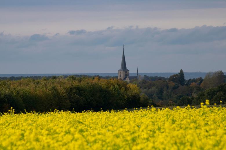 Zuid-Limburgs Landschap - Uitzicht over de koolzaadvelden op de kerk van Berg en Terblijt vanaf Wolfshuis/Sibbe, Zuid-Limburg.