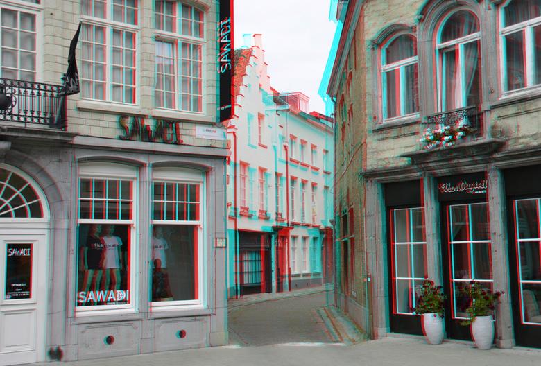 Lier Belgium 3D - Straatje Lier belgium Antwerpen<br /> 3D anaglyph stereo red/cyan<br /> d7000 cha-cha