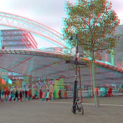 Station Blaak Rotterdam 3D anaglyph red/cyan