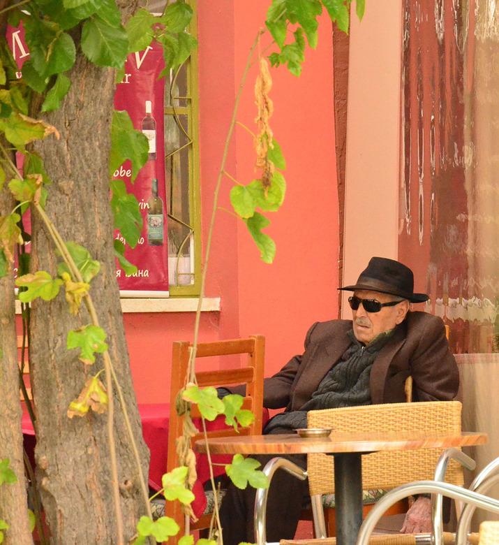 the streets of.. - Cyprus<br /> <br /> hij zat er helemaal alleen op het terras <br /> <br /> Cyprus 2014