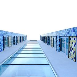 tegels in blauw