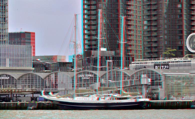 Eendracht Wilhelminapier Rotterdam 3D - anaglyph stereo red/cyan