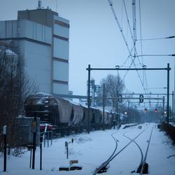 Station Barneveld met sneeuw