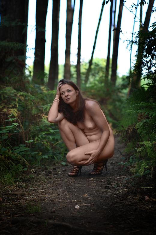Naakt op hoge hakken in het bos - retro style