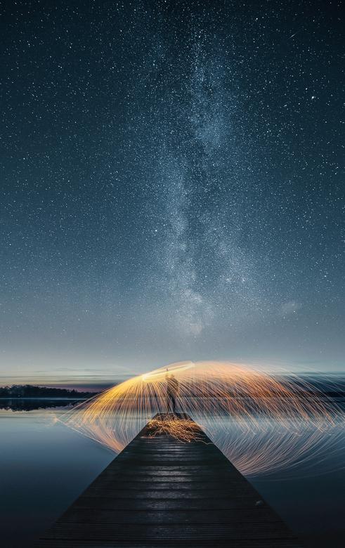 staalwollen onder de sterren (melkweg) - Een Avondje staalwol slingeren onder de sterren .