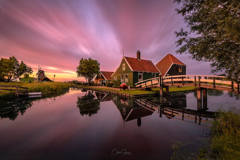 A summer sunset in Zaanse Schans -