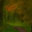 Het bospad in de herfstkleuren