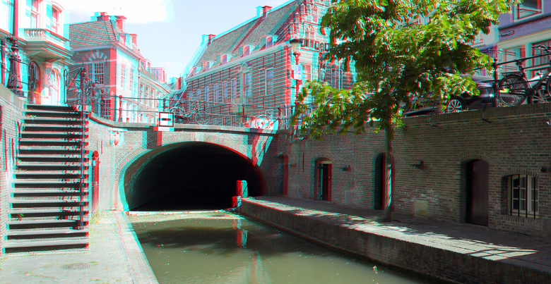 Gracht Utrecht 3D - Gracht Utrecht 3D<br /> Lumix GF3<br /> anaglyph stereo red-cyan