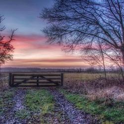 Mooie kleuren tijdens de zonsopkomst.