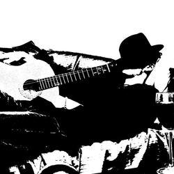 Zelfportret met me gitaar 4 zwart/wit